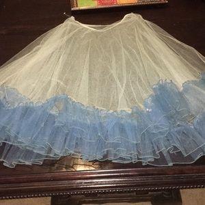 40's Full Tulle Lace Circle Skirt Ruffled Hem Med
